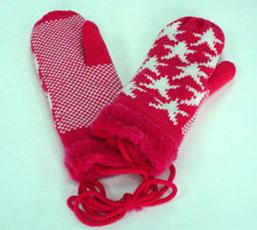 长皮绒里针织提花手套