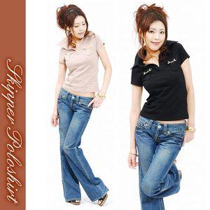 胸ポケットがエルメス風半袖スキッパーポロシャツ (休闲短袖T恤)
