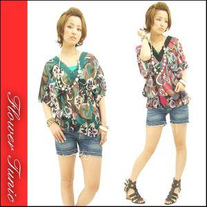 胸元レースボヘミアンフラワーチュニック (时尚肥袖蕾丝领花式上衣)