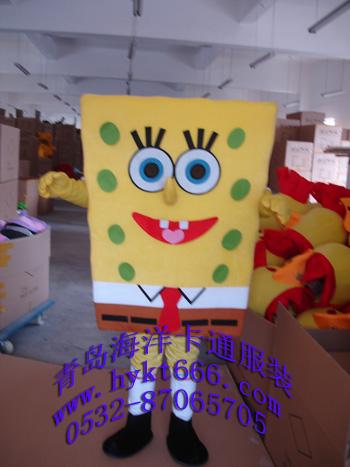 出售山东青岛海洋卡通服装影视动漫人偶服装海绵宝宝