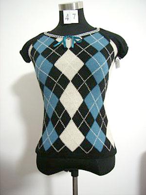 コンピュータージャカードチェック柄半袖セーター