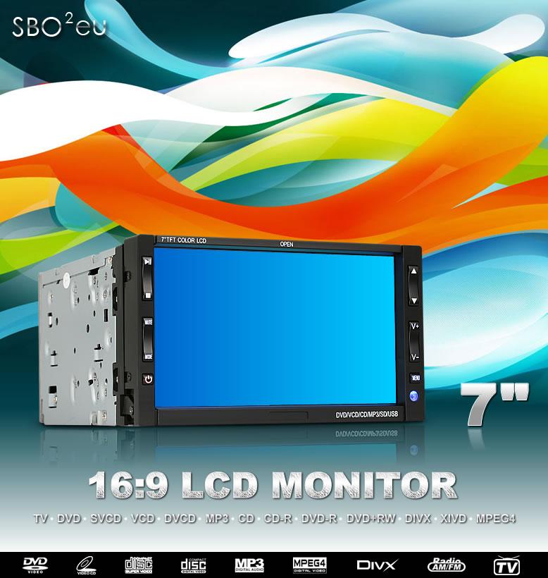 車載7インチ 16:9 液晶テレビ/DVD/USB/SD Card/ラジオ