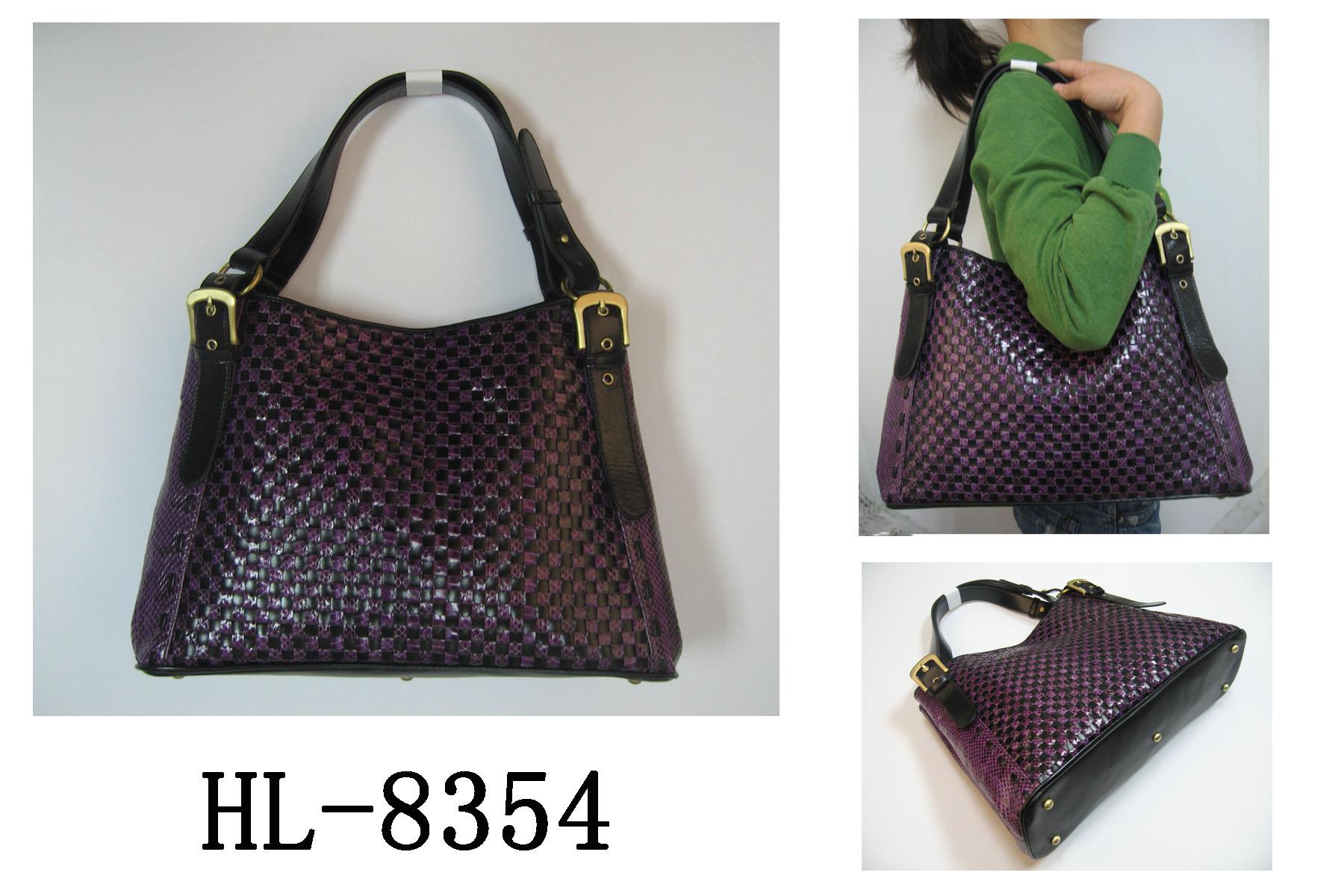 HL-8354真皮蛇皮编织包