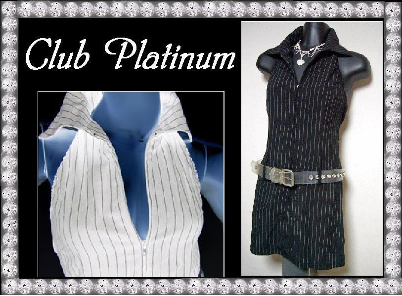 ピンストライプホルタージップアップワンピAIKA(无袖修身连衣裙)