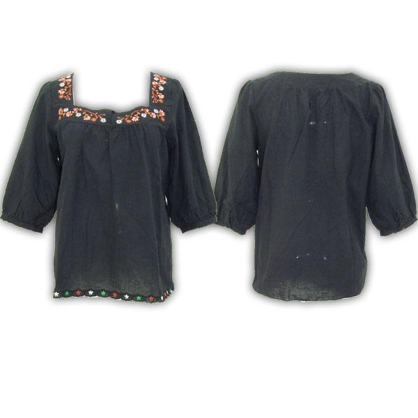 夏の新作花柄刺繍ボヘミアンシフォンチュニック(今夏新款绣花中袖全棉上衣)