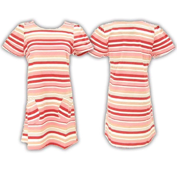 マルチボーダービッグTシャツワンピース (女式全棉斜纹长款上衣)