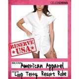 日本直送【American Apparel】品牌最新毛巾棉系带女式浴袍【American Apparel】Loop Terry Resort Robe 9479L[【American Apparel】Loop Terry Resort Robe 9479L]