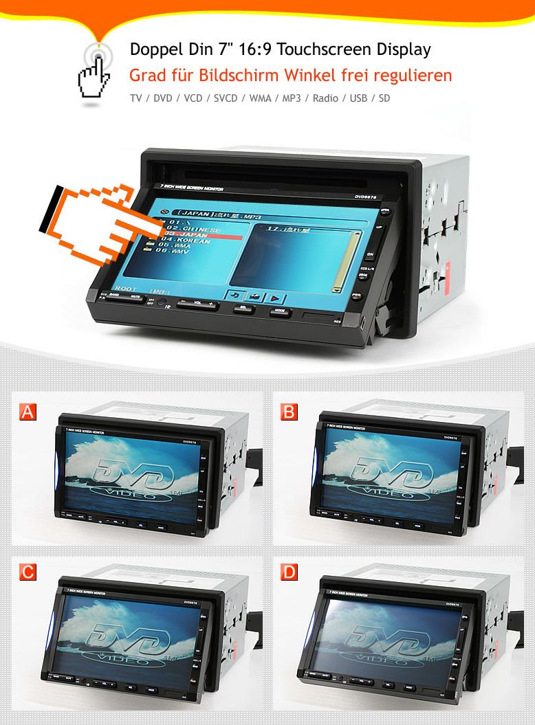 車載7インチタッチパネル液晶テレビ/ DVD/USB/ラジオ